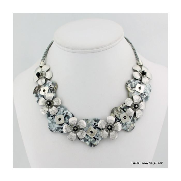 Collier Fleur métal nacre cristal