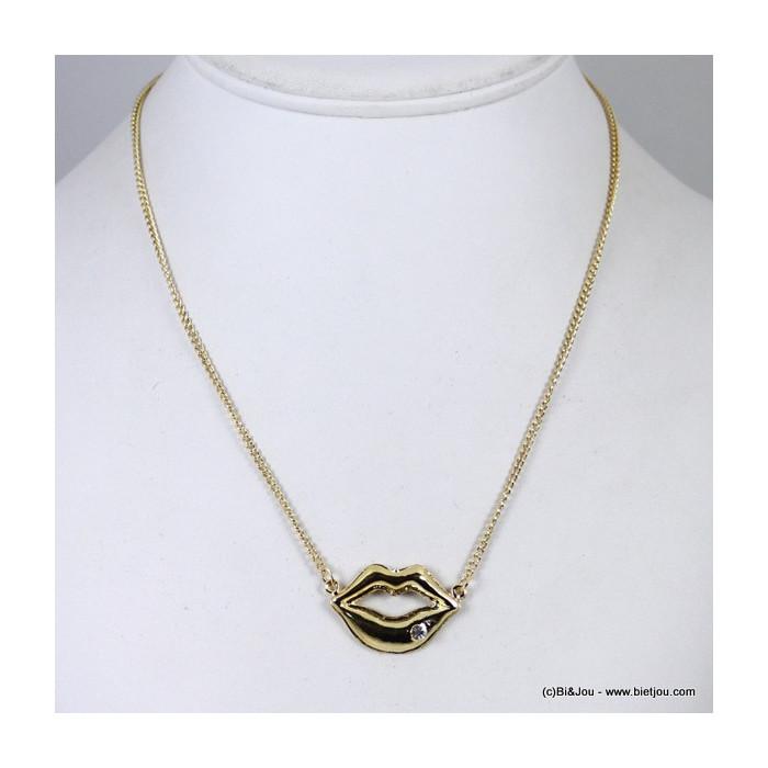 Collier bouche métal strass