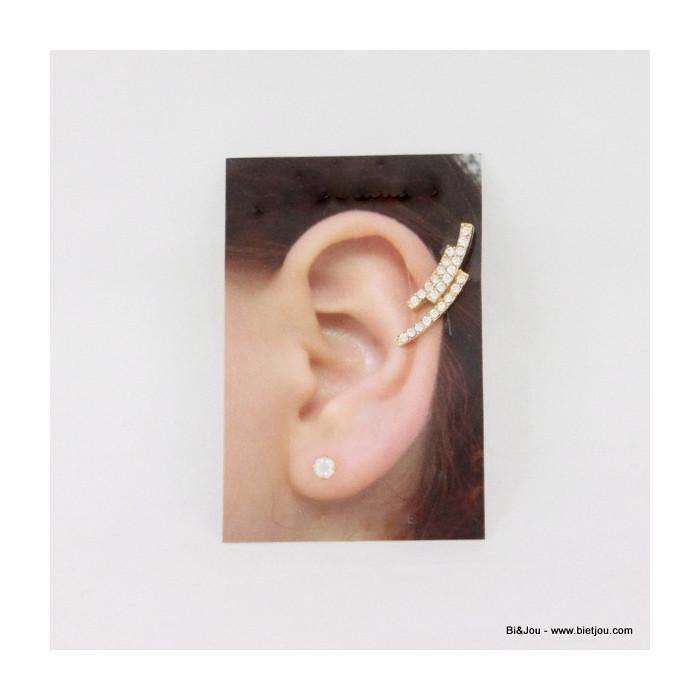 Boucle d'oreille ear cuff trois rangées strassés