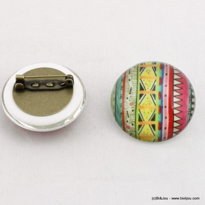 Broche demi-sphère aztèque