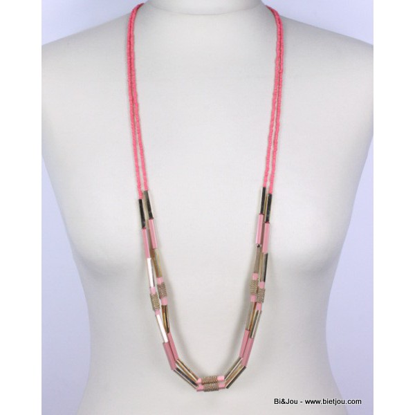 Collier long fun & flashy perles et métal