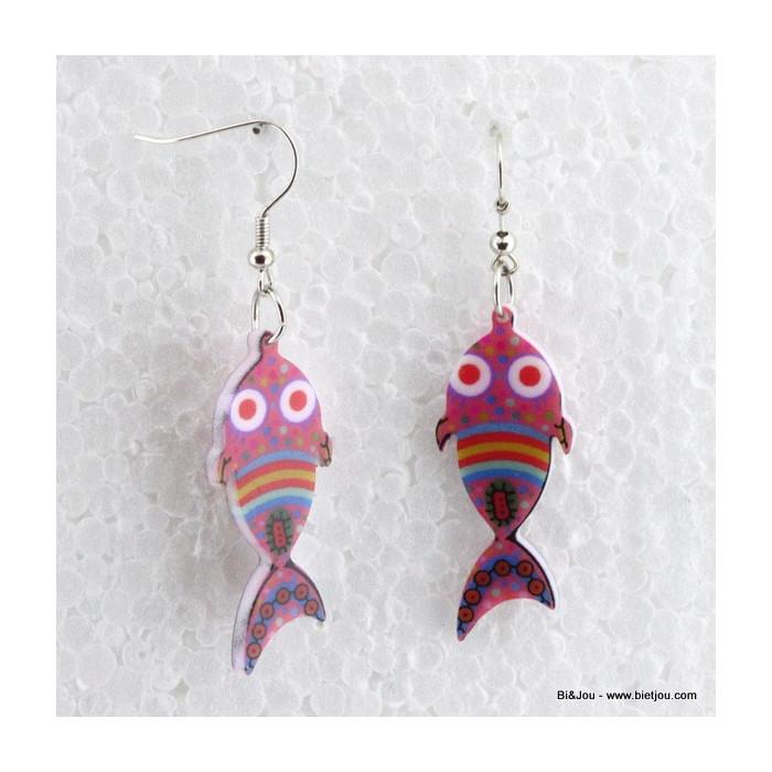 Boucles d'oreille de poisson en acrylique