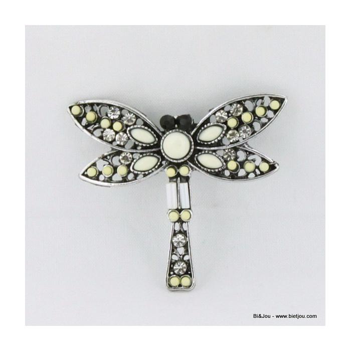 Broche libellule en métal et acrylique