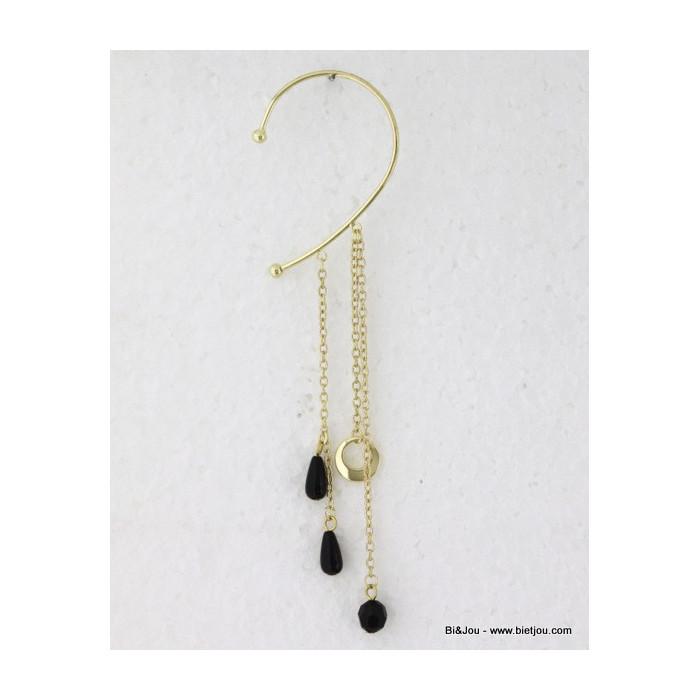 Boucle d'oreille ear cuff tour d'oreille aux perles à goutes et facettes