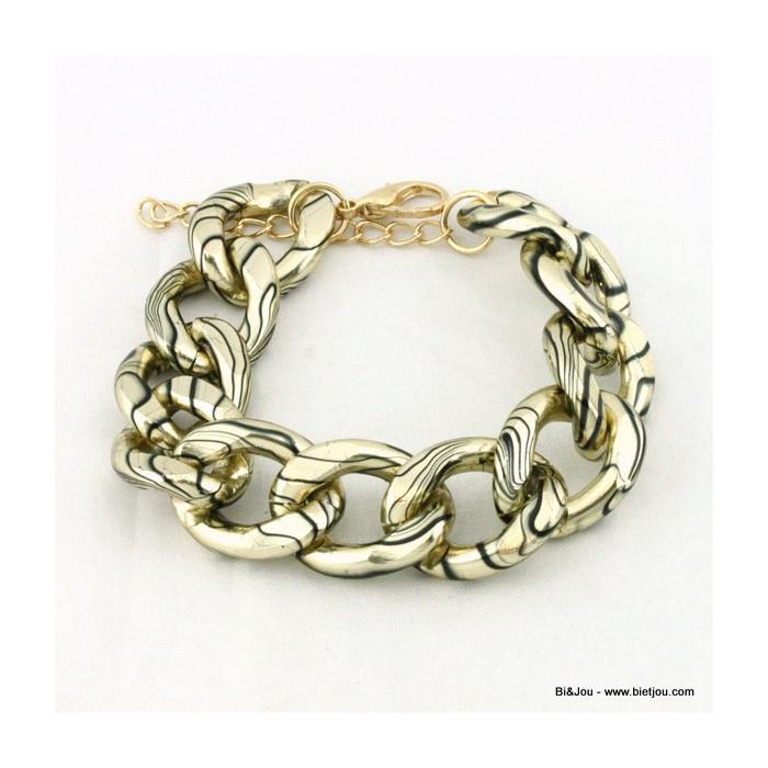 Bracelet rock grosse maille imprimée de fines lignes