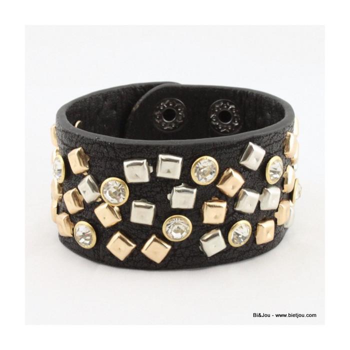 Bracelet manchette large rock à clous et strass