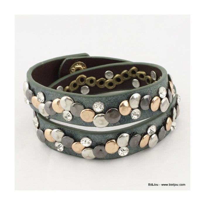 Bracelet multitours rock cuir synthétique et clous