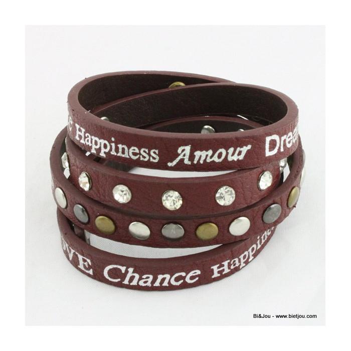 Bracelet multitour en simili cuir avec des mots (Dream, Peace..)