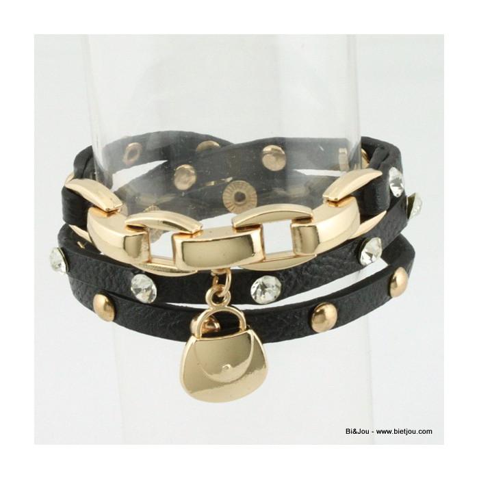 Bracelet multitours Rock avec clous, strass et un cadenas