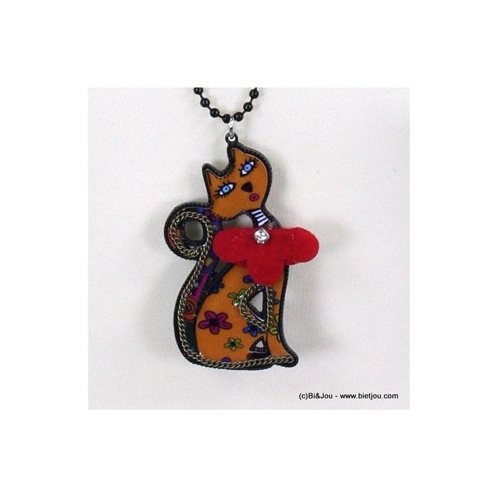 Collier chat en chaîne à billes