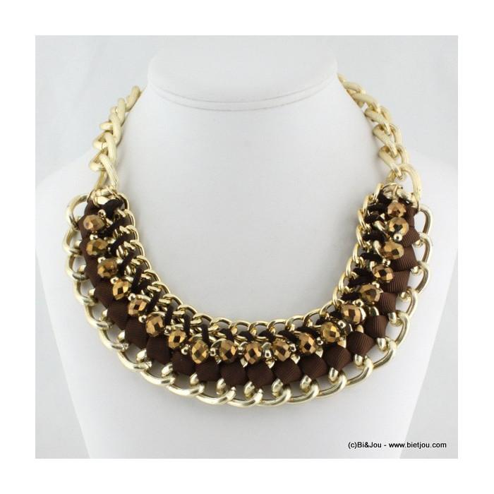 Collier plastron Rock à gros maillons, perles et ruban