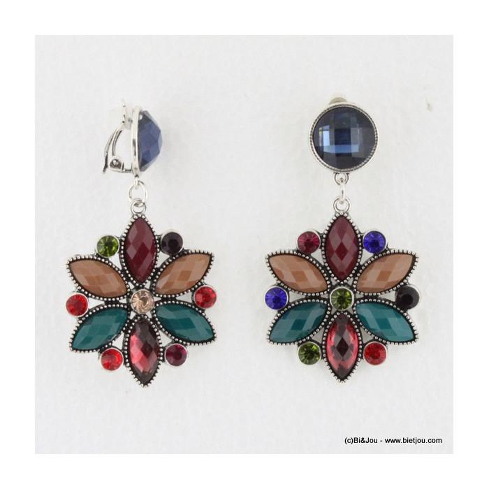 Boucles d'oreille Vintage à clips fleur en acrylique et cristaux colorés