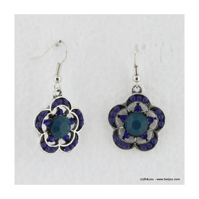 Boucles d'oreille vintage à fleurs en acrylique et en perles de rocaille