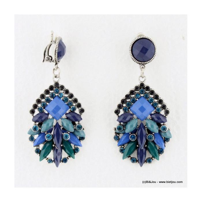 Boucles d'oreille Vintage à clips effet cristaux colorés