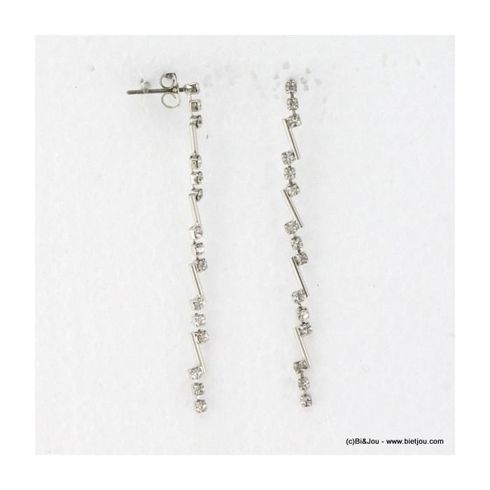 Boucles d'oreille longues en zigzag métal et strass