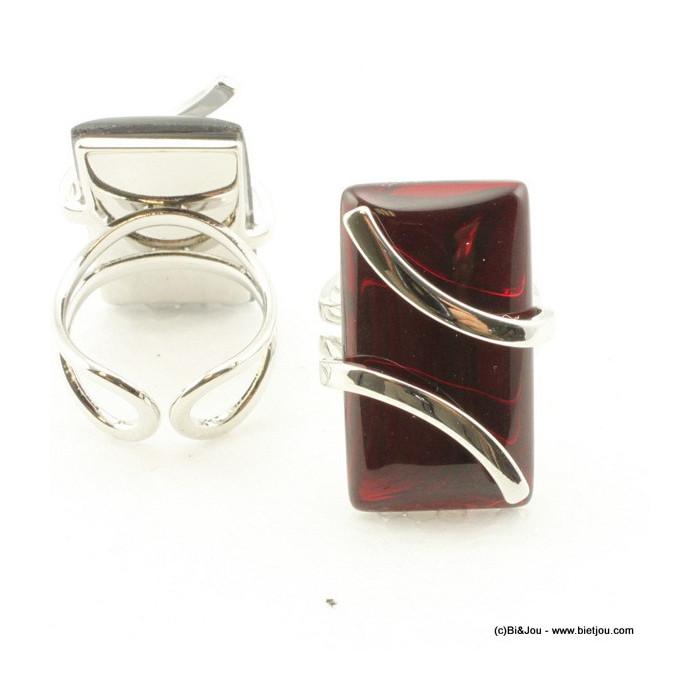 Bague rectangulaire verre et métal