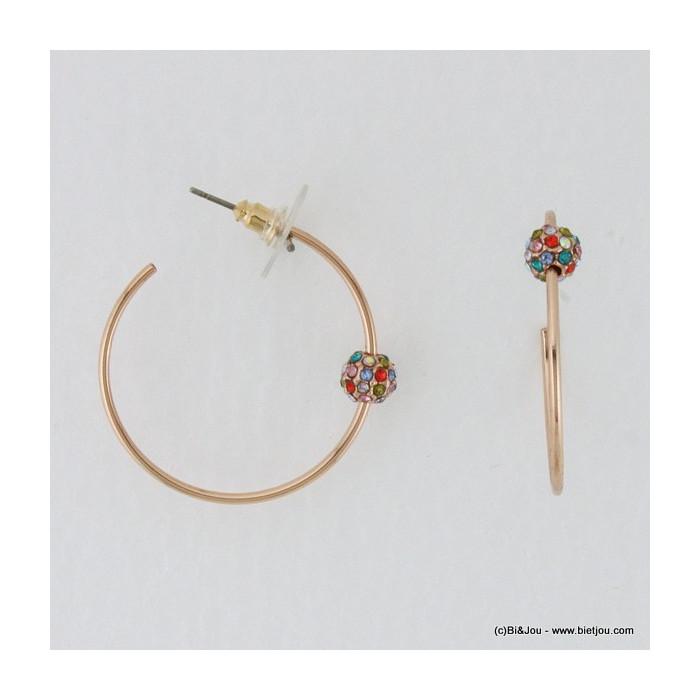 Boucles d'oreilles créoles en métal avec boule strassée