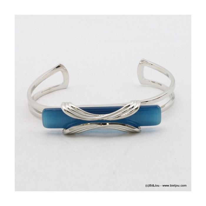 """bracelet métal avec verre """"oeil de chat"""" rectangulaire surmonté  par deux branches en forme d'arc"""