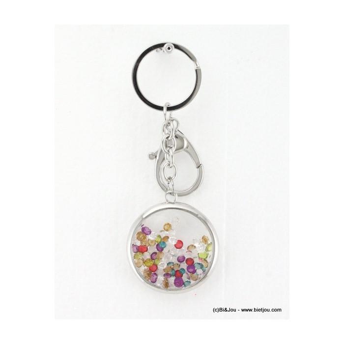 bijou de sac - porte-clés rond avec verre métal et strass