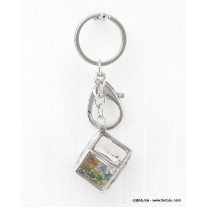 bijou de sac - porte-clés cubique avec strass