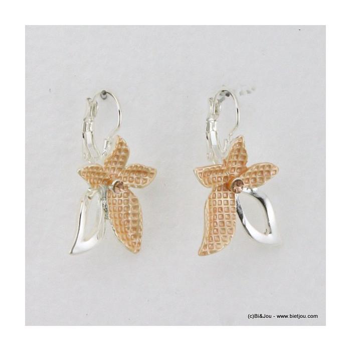 Boucles d'oreilles fleur, émail, métal et strass