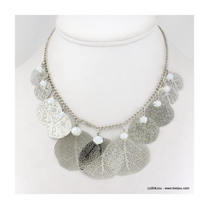Collier métal feuille et cristal