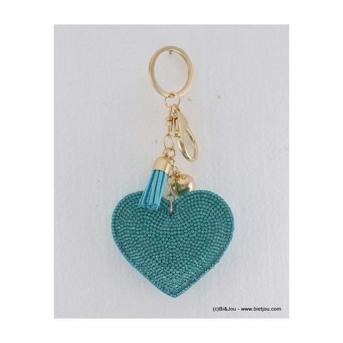 bijou de sac - porte-clés coeur en daim et strass