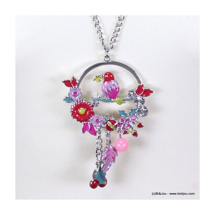 Sautoir cercle oiseau fleurs métal et émail