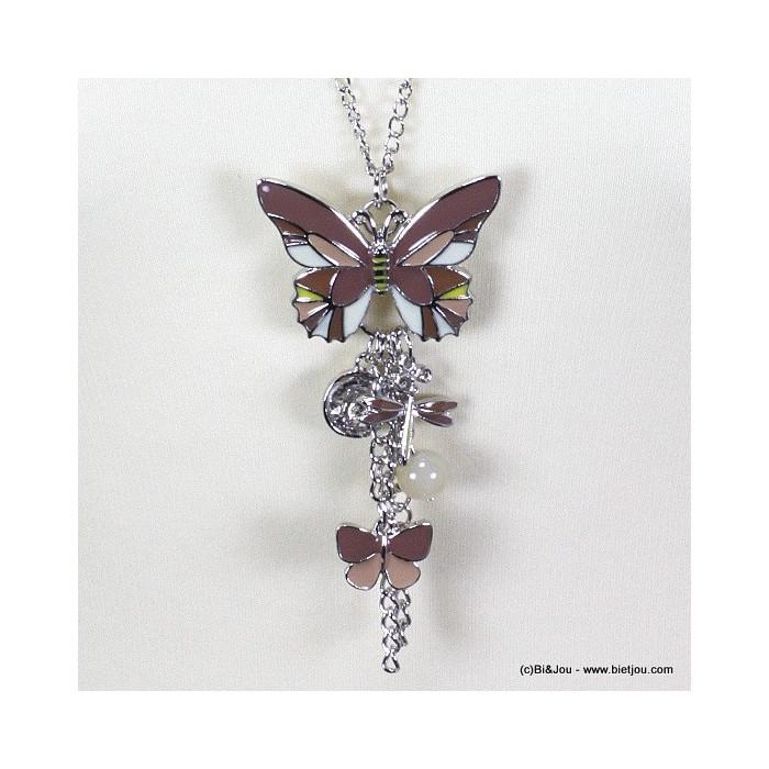 Sautoir papillon émail et pampilles métal