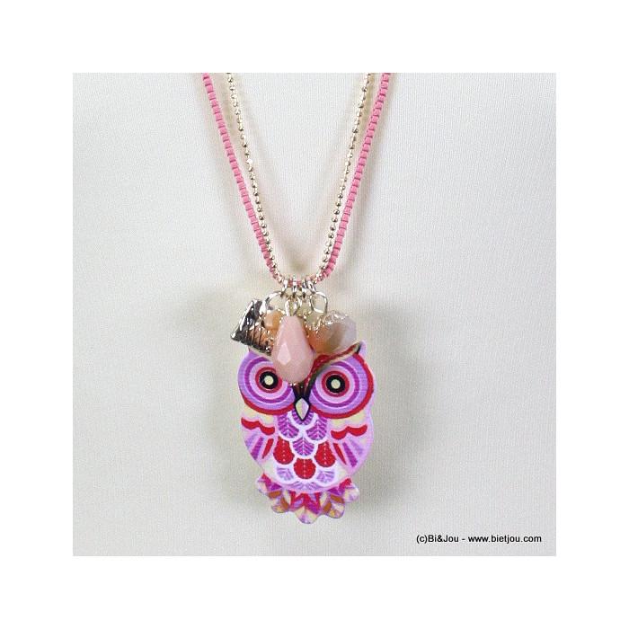 Sautoir perles et métal avec pendentif hibou-chouette métal pierre et pompon