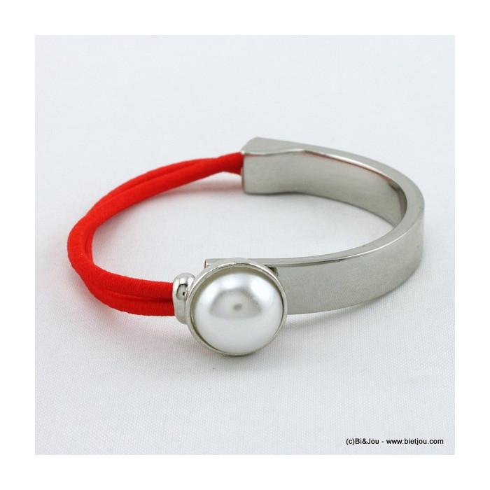 Bracelet métal élastique et perle en acrylique