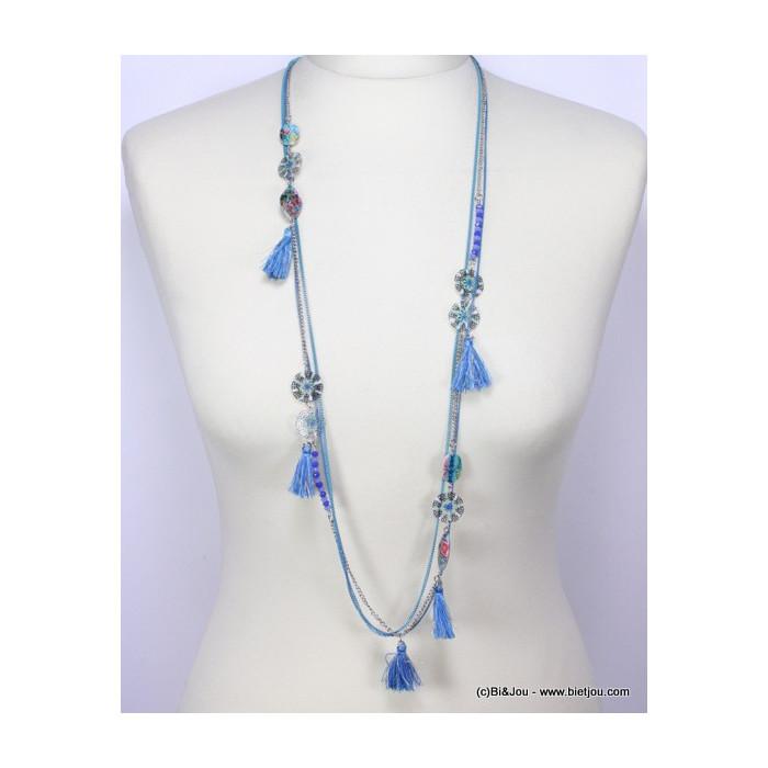 Sautoir 3 chaînes avec perles cristal, pompons et nacre