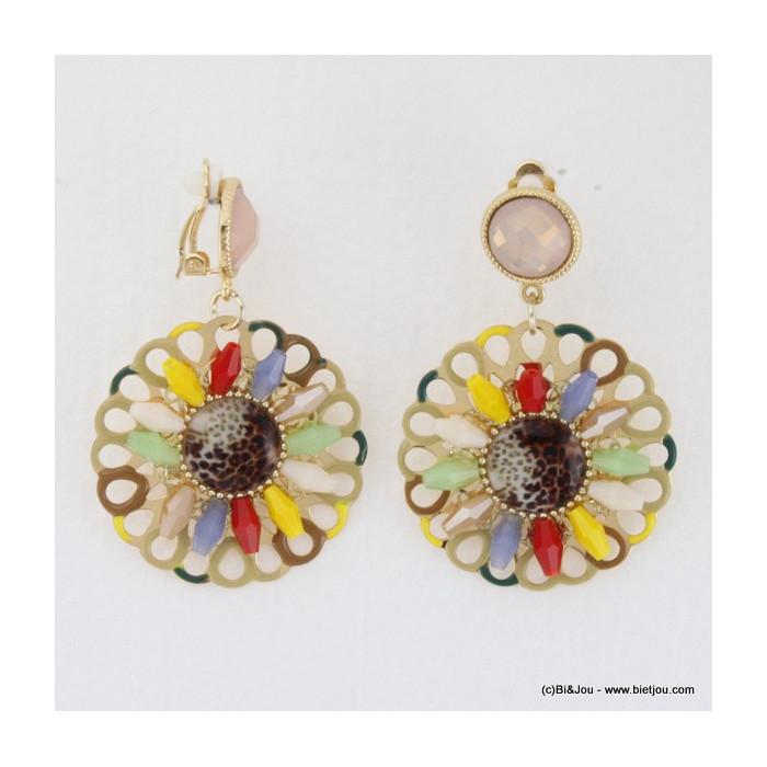 Boucles d'oreille clip en métal acrylique et émail en forme de rosace