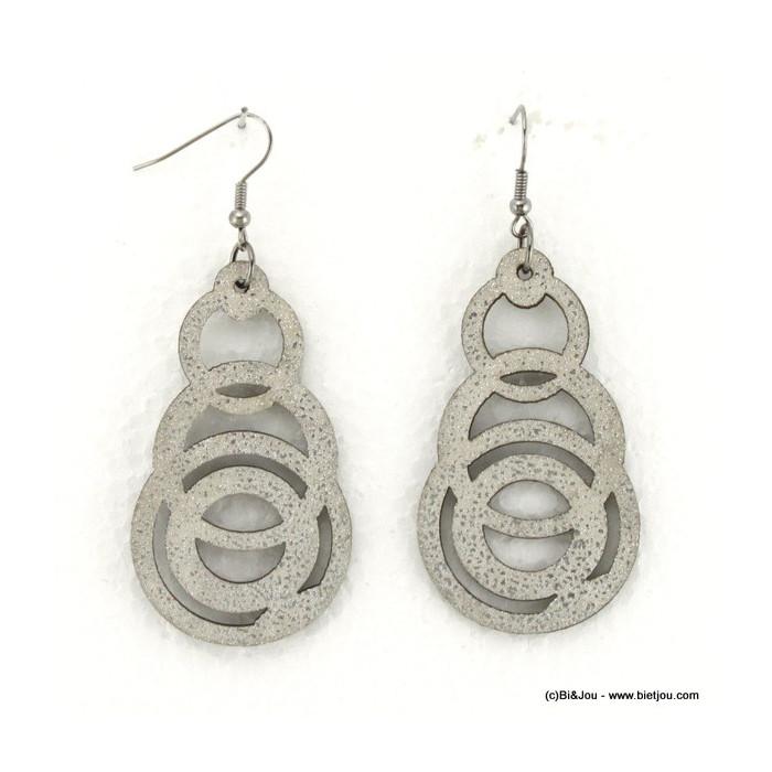 Boucles d'oreille cercles en cuir synthétique