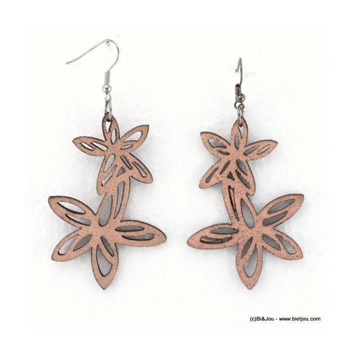 Boucles d'oreille double fleur en cuir synthétique