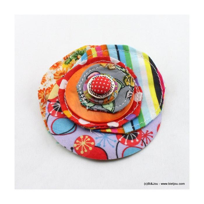 Broche cercles en tissu