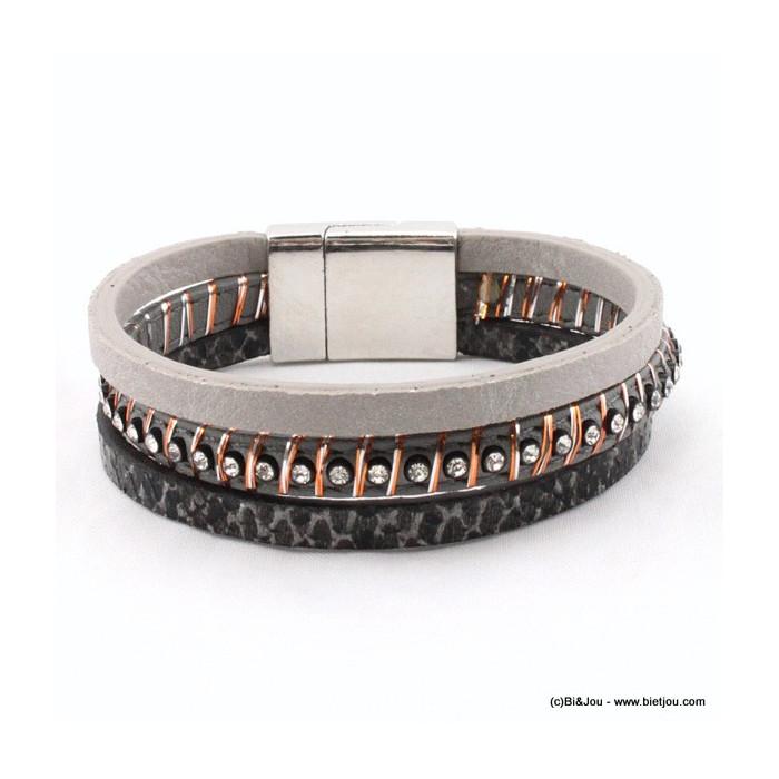 Bracelet 3 bandes simili cuir strass et motif python
