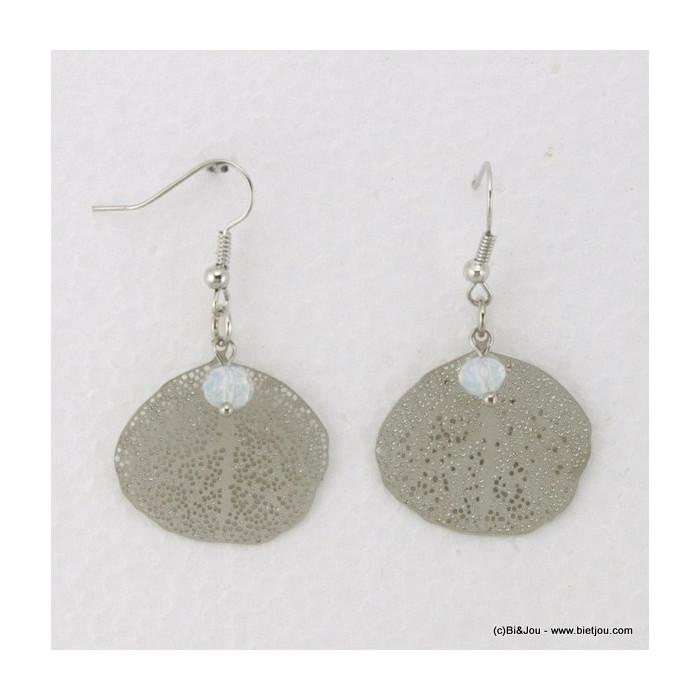 Boucles d'oreille feuille en métal et cristal