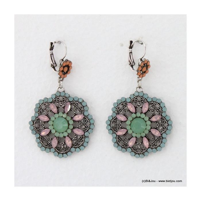 Boucles d'oreille rosace métal et acrylique
