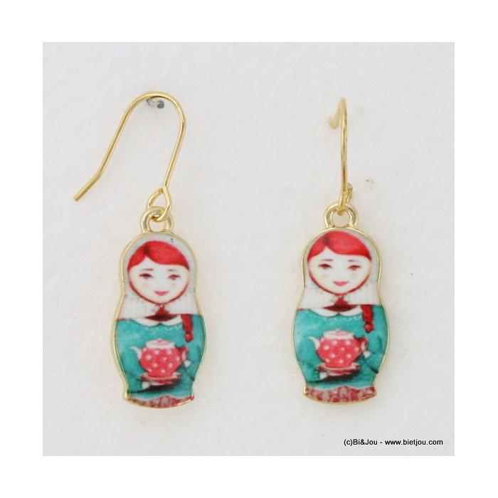 boucles d'oreille poupée russe matriochka