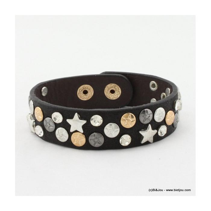Bracelet 1 tour cuir strass et étoiles en métal