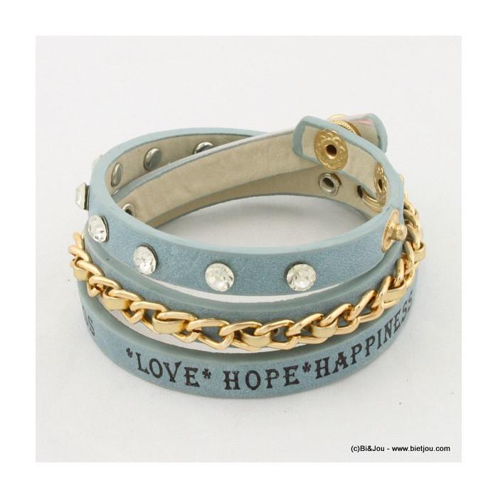 Bracelet multitours message chaîne métal et strass