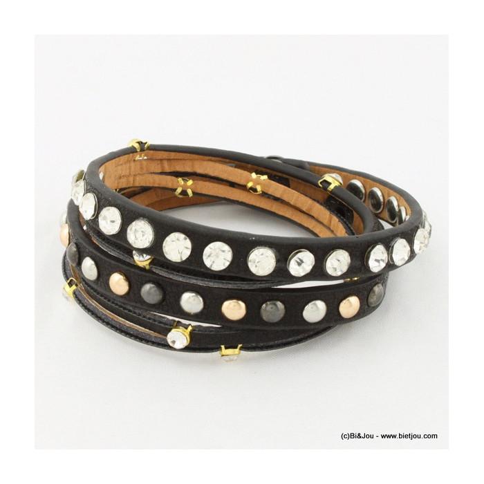 Bracelet multitours billes en métal et strass