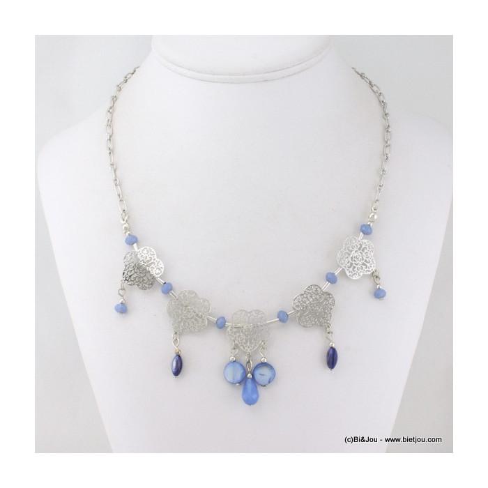 Collier fleurs en filigrane perles de nacre, cristal et métal