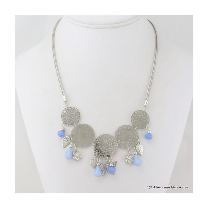 Collier disques en filigrane, cristal et papillon et fleur métal