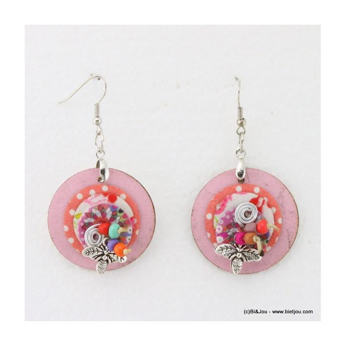 Boucles d'oreille 3 disques tissu et nacre, perles et abeille métal