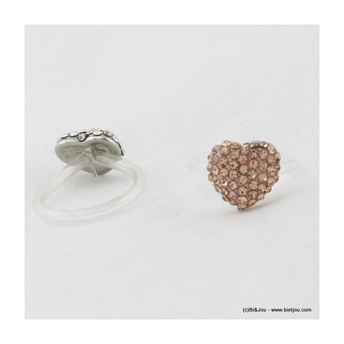 Bague réglable en silicone avec coeur en strass