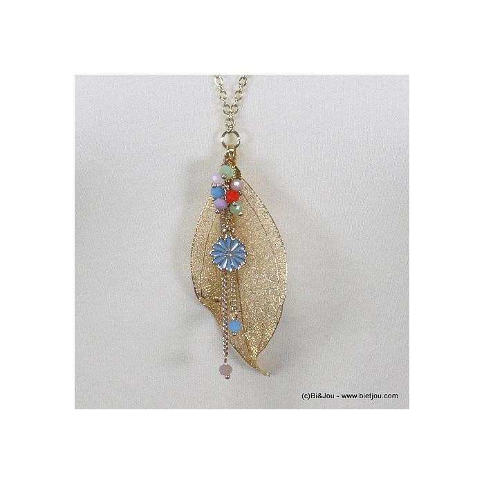 Sautoir feuille filigrane métal, petite fleur et cristal
