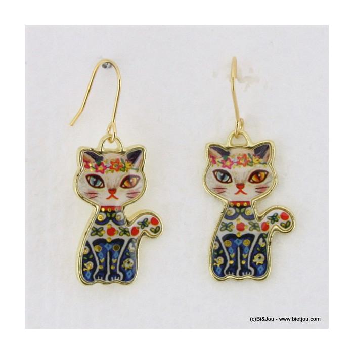 Boucles d'oreille chat métal et résine