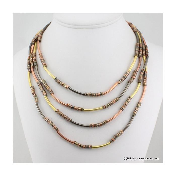Collier multi longueurs séquences et tubes en métal